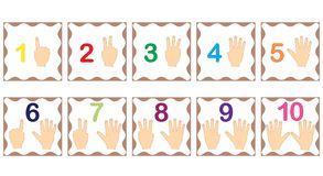 Lära nummer, matematik med fingrar av handen bakgrund cards exponeringen isolerad objektwhite stock illustrationer