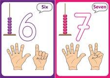 lära numren 0-10, bildkort, bildande förskole- aktiviteter Arkivbilder