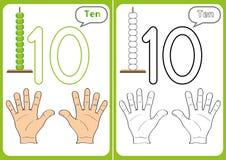 lära numren 0-10, bildkort, bildande förskole- aktiviteter Royaltyfri Foto