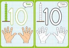 lära numren 0-10, bildkort, bildande förskole- aktiviteter Arkivfoto