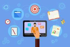 lära online Bildande begrepp för affär Webinar som främjar service på internet vektor illustrationer
