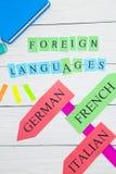 Lära språkbegrepp arkivfoton
