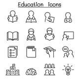 Lära & utbildningssymbolen ställde in i den tunna linjen stil royaltyfri illustrationer