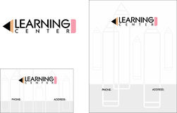 Lärande mittskolutbildninglogo, affärskort 2 x 3 5 reklamblad 4 25 x 5 5 stock illustrationer