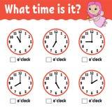 Lärande tid på klockan Arbetssedel för bildande aktivitet för ungar och små barn Lek för barn Enkel plan isolerad vektor royaltyfri illustrationer