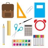 Lärande utrustning för skolatillförsel och olik tillbehör för kontor för skolatillförsel färgrik royaltyfri illustrationer
