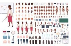 Lärare för afrikansk amerikankvinnaskola eller undervisningprofessor DIY eller konstruktörsats Packe av kroppen för kvinnligt tec royaltyfri illustrationer