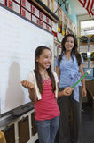 Lärare Looking At Girl som ger presentation royaltyfria foton