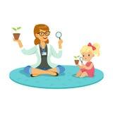 Lärare- och liten flickasammanträde på golvet och lära om växter under botanikkurs, bildande förträning stock illustrationer