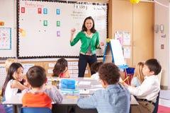 Lärare på framdelen av grupp med grundskolaungar royaltyfri foto