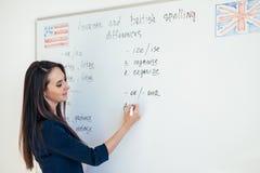 Lärare som förklarar skillnader mellan amerikansk och brittisk stavningshandstil på skola för engelskt språk för whiteboard royaltyfria foton