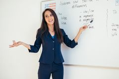Lärare som förklarar skillnader mellan amerikansk och brittisk stavningshandstil på skola för engelskt språk för whiteboard royaltyfria bilder