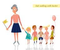 Lärare som leder ungar för en gå i dagiset Gå för barn Vektorteckenillustration stock illustrationer