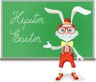 Lärare Vector Cartoon för Hipsterpåskkanin stock illustrationer