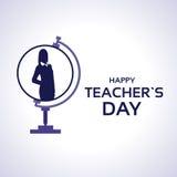 LärareDay Holiday Silhouette kvinna på jordklothälsningkort Arkivbilder