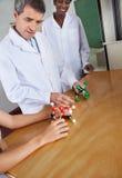 LärareLooking At Molecular struktur på skrivbordet Royaltyfri Foto