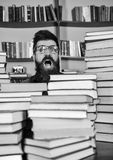 Läraren eller studenten med skägget bär glasögon, sitter på tabellen med böcker som är defocused Nerdbegrepp Man nerd på royaltyfria foton