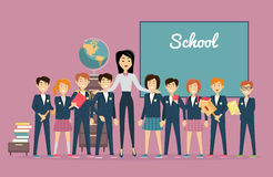 Läraren och elever near den svart tavlan tillbaka skola till vektor illustrationer