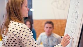 Läraren skriver på Flipchart för studenter Eller affärsmöte i kontoret lager videofilmer