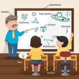 Läraren Teaching His Students i klassrumet vektor illustrationer