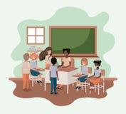 Läraresvart i klassrumet med studenter royaltyfri illustrationer