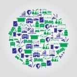 Lärareyrke- och undervisningsymboler i cirkel royaltyfri illustrationer