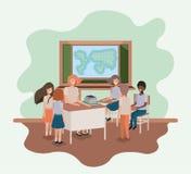 Lärarinna i geografigruppen med studenter vektor illustrationer