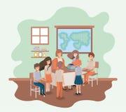 Lärarinna i geografigruppen med studenter royaltyfri illustrationer