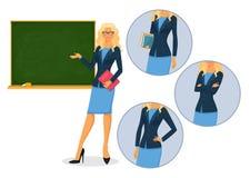 Lärarinna med svart tavla Royaltyfri Bild