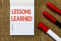 Lärda kurser för ordhandstiltext Affärsidéen för Promote aktien och brukskunskap härledde erfarenhetsmässigt arkivfoto