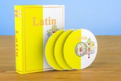 Lärobok för latinskt språk med CD disketter på trätabellen beträffande 3d vektor illustrationer