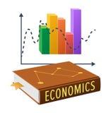 Lärobok på nationalekonomi och ljust statistiskt diagram royaltyfri illustrationer