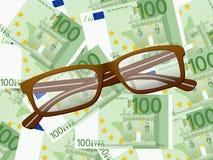 Läs- exponeringsglas på hundra eurobakgrund stock illustrationer