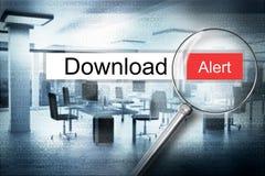 Läs- illustration för varning 3D för nedladdningwebbläsaresökande Arkivbild