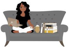 Läs- kvinna stock illustrationer