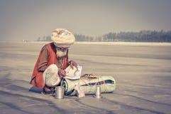 Läs- man med turbanen i västra Bengal Arkivbild