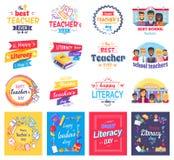 Läs-och skrivkunnighet och läraredagen isolerade klistermärkeuppsättningen royaltyfri illustrationer