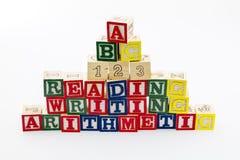 Läs- skrivande kvarteraritmetisk 123 Fotografering för Bildbyråer