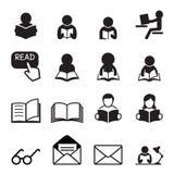 Läs- symbol Fotografering för Bildbyråer
