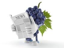 Läs- tidning för druvatecken stock illustrationer