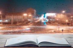 Läsa en bok på en regnig afton Fotografering för Bildbyråer