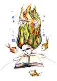 Läsa och drömma royaltyfri illustrationer