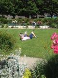 Läsande ligga för folk på gräset Royaltyfri Foto