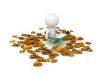 läsebok och Autumn Leaves för tecken 3D runt om honom Royaltyfria Foton
