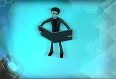 läsebokillustration för man 3d Royaltyfri Bild