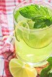 Läsk med limefrukt, is och mintkaramellen Arkivbilder