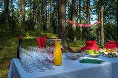 Läsk och mellanmål på en tabell utanför Royaltyfria Foton
