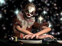 Läskig clowndiscjockey Arkivbild