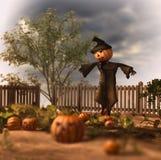 Läskig fågelskrämma Jack Pumpkin Patch Vektor Illustrationer