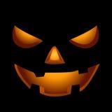 Läskig framsida av halloween pumpa Arkivfoto